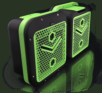 Rendu 3D 2 boitiers alveoONE noir et vert face avant et face arrière