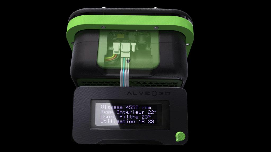 3D du boitier de la carte V2 connectée à la carte V1 dans un boitier alveoONE