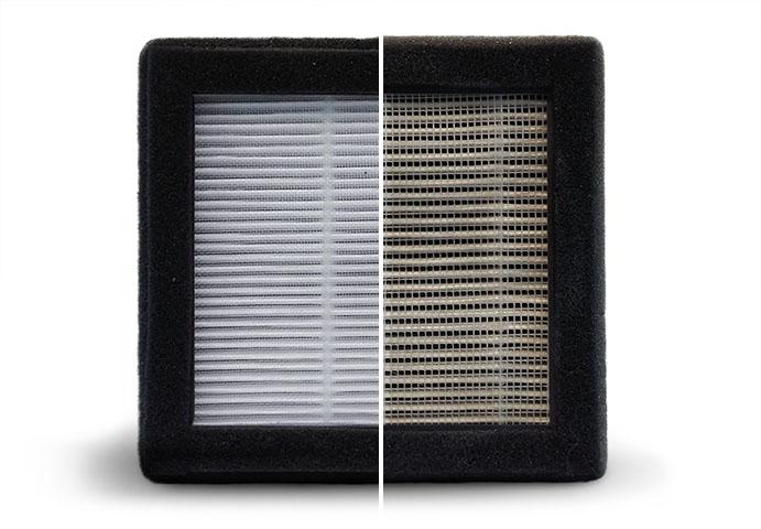 le filtre P3D avant et après 200 h d'utilisation